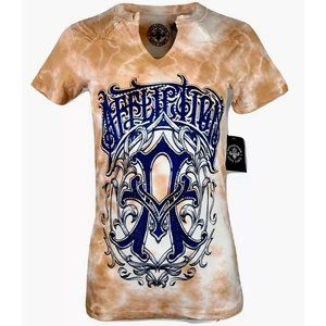 AFFLICTION Womens T-Shirt ICONIC STEEL WESTERN